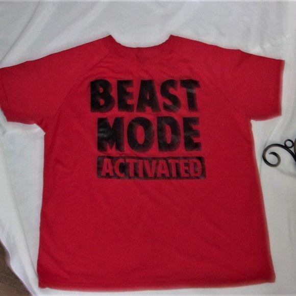 medium red tee shirt top womens active wear fun